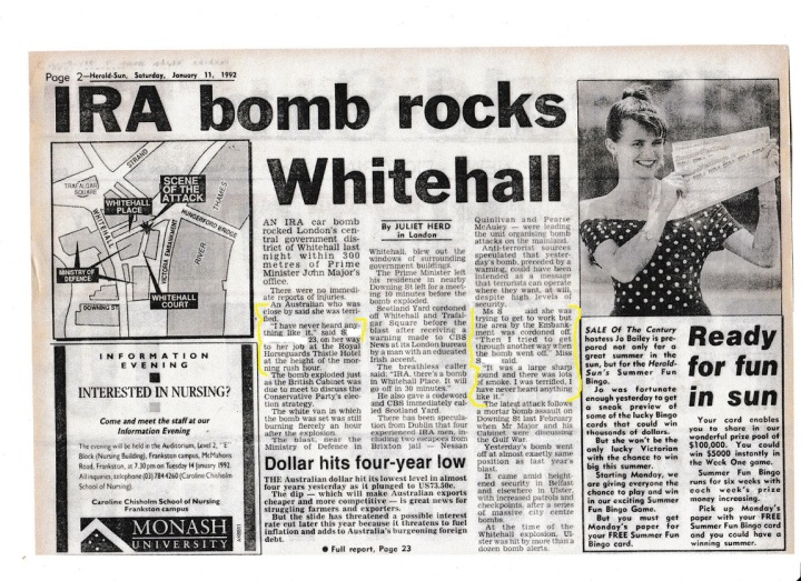S Interview after IRA explosion