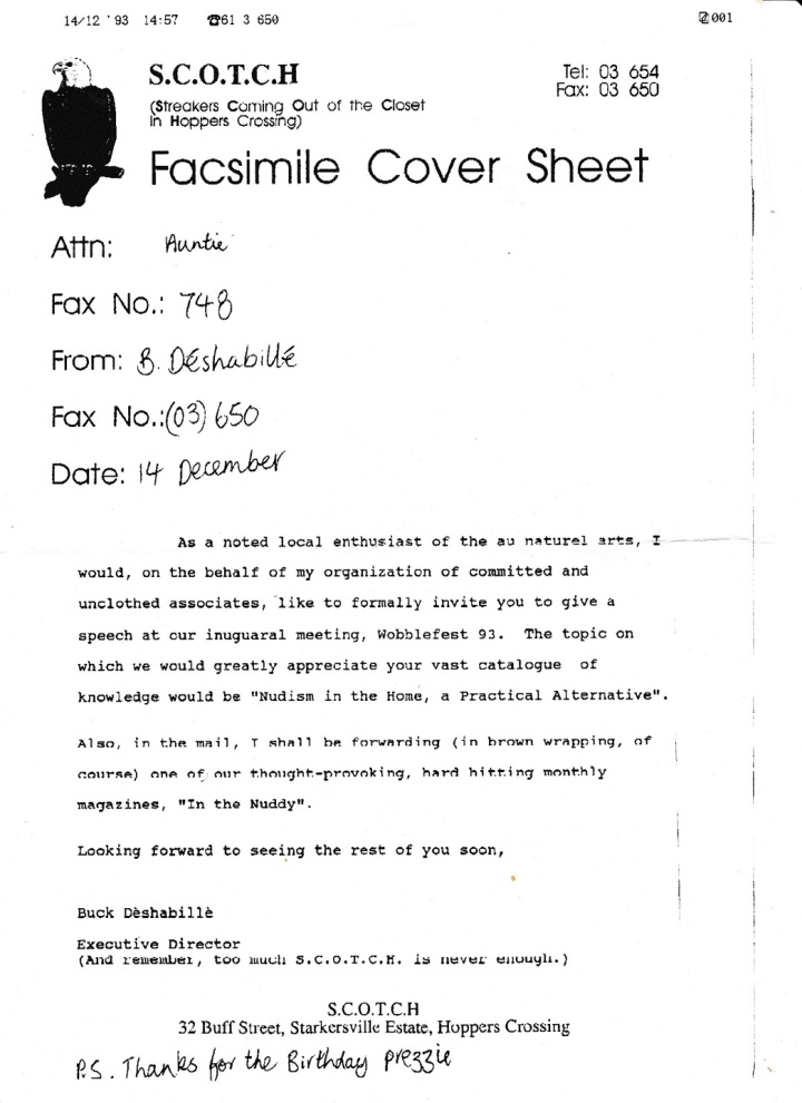 1994 Feb 15 Fax from J to Aunty Mim 001