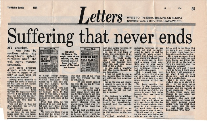 Newspaper article by Nanny