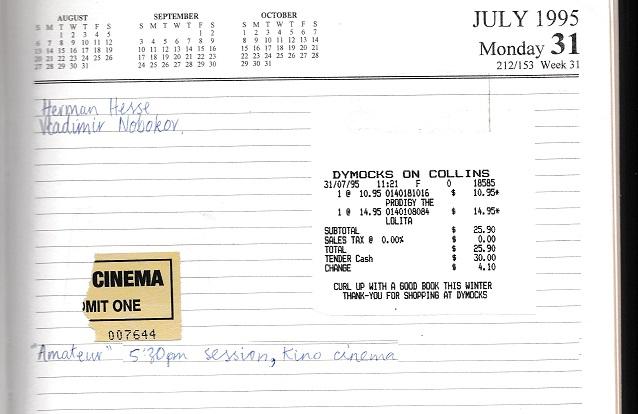 Diary 31 July 1995 001