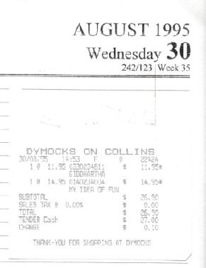 Receipt 30 Aug 1995